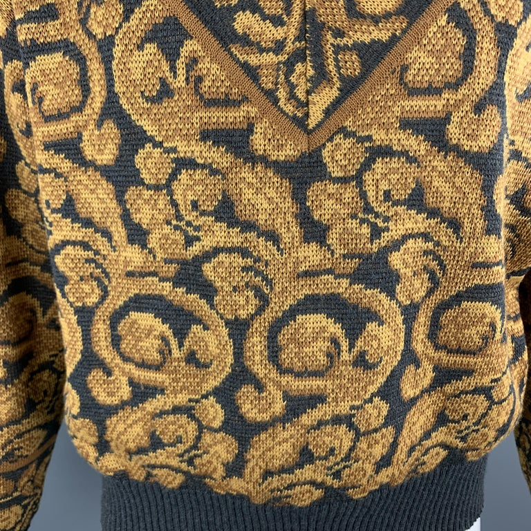 YVES SAINT LAURENT Size XL Gray & Gold Baroque Print Wool Mock Neck Pullover In Good Condition For Sale In San Francisco, CA