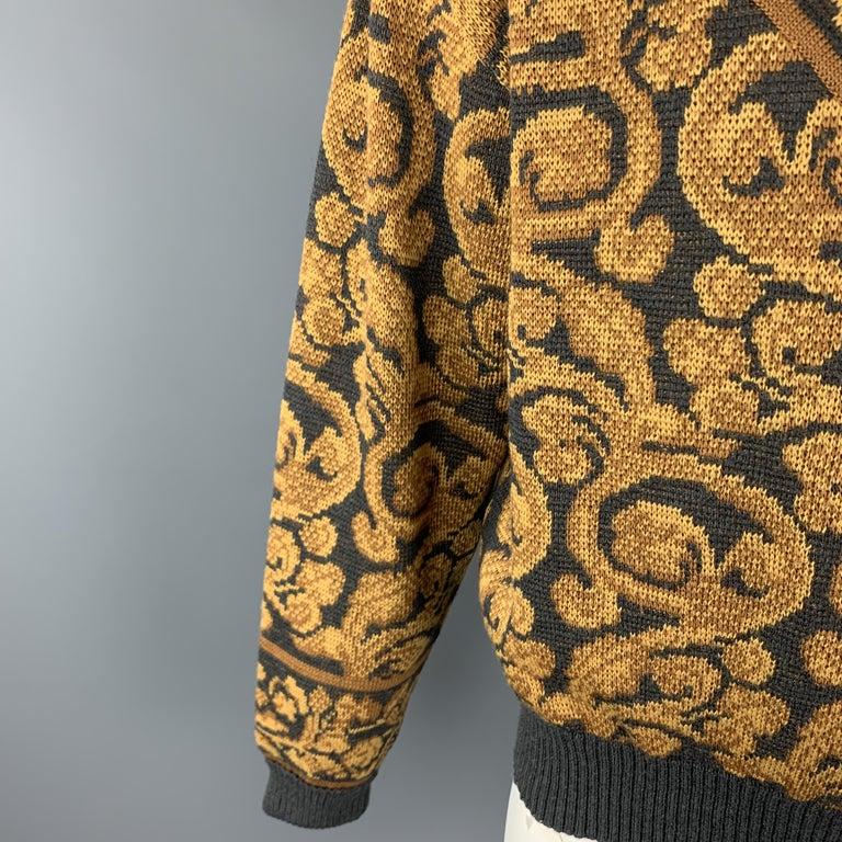 Men's YVES SAINT LAURENT Size XL Gray & Gold Baroque Print Wool Mock Neck Pullover For Sale
