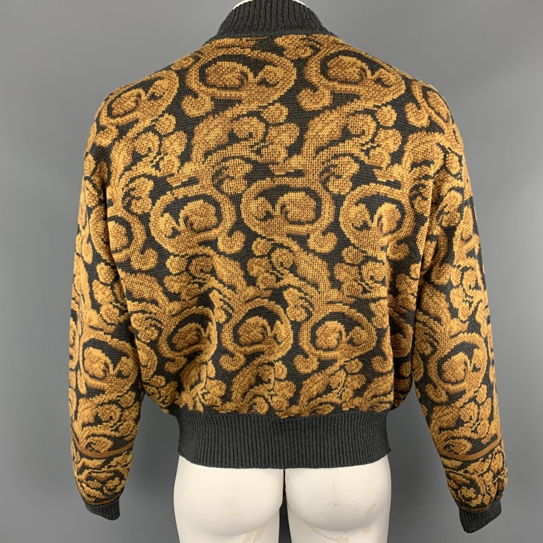 YVES SAINT LAURENT Size XL Gray & Gold Baroque Print Wool Mock Neck Pullover For Sale 1
