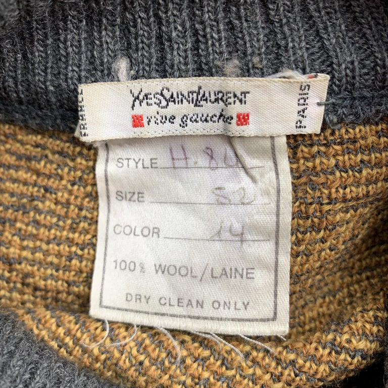 YVES SAINT LAURENT Size XL Gray & Gold Baroque Print Wool Mock Neck Pullover For Sale 3