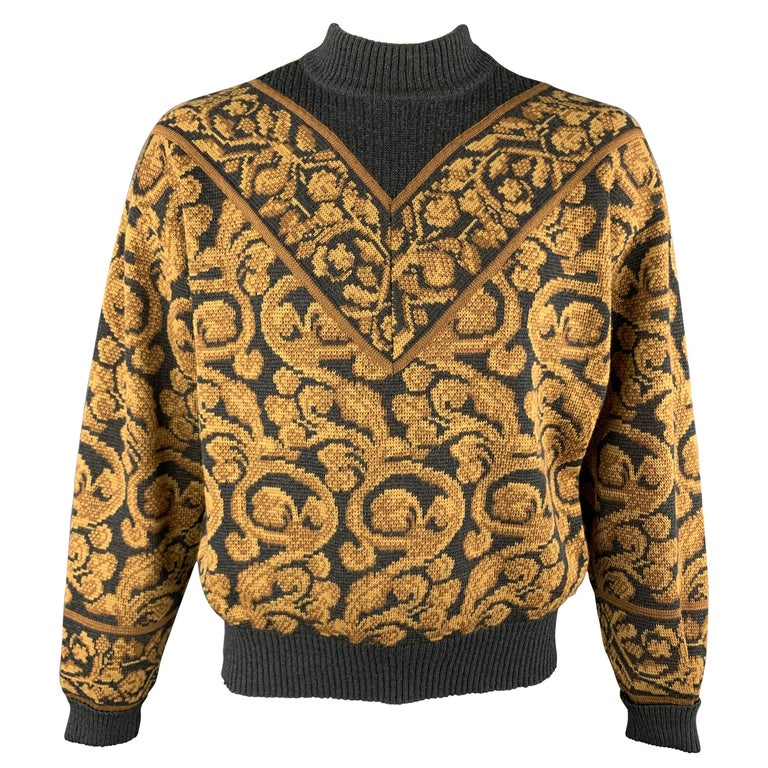 YVES SAINT LAURENT Size XL Gray & Gold Baroque Print Wool Mock Neck Pullover For Sale