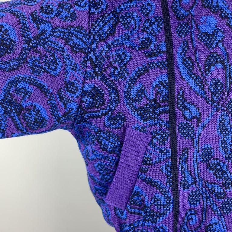 Men's YVES SAINT LAURENT Size XL Purple & Blue Baroque Wool Knit Vintage Jacket For Sale