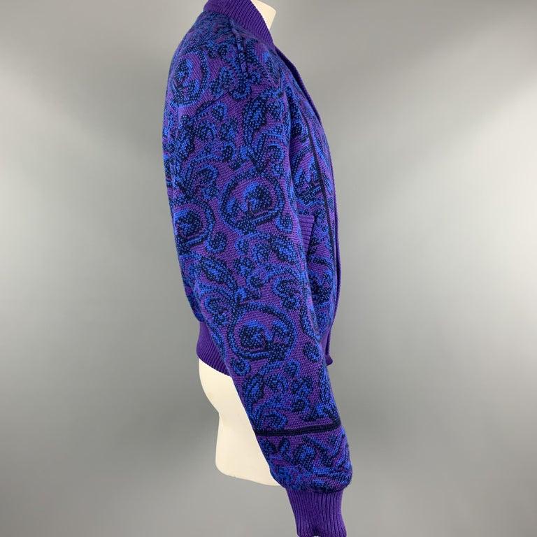 YVES SAINT LAURENT Size XL Purple & Blue Baroque Wool Knit Vintage Jacket For Sale 1