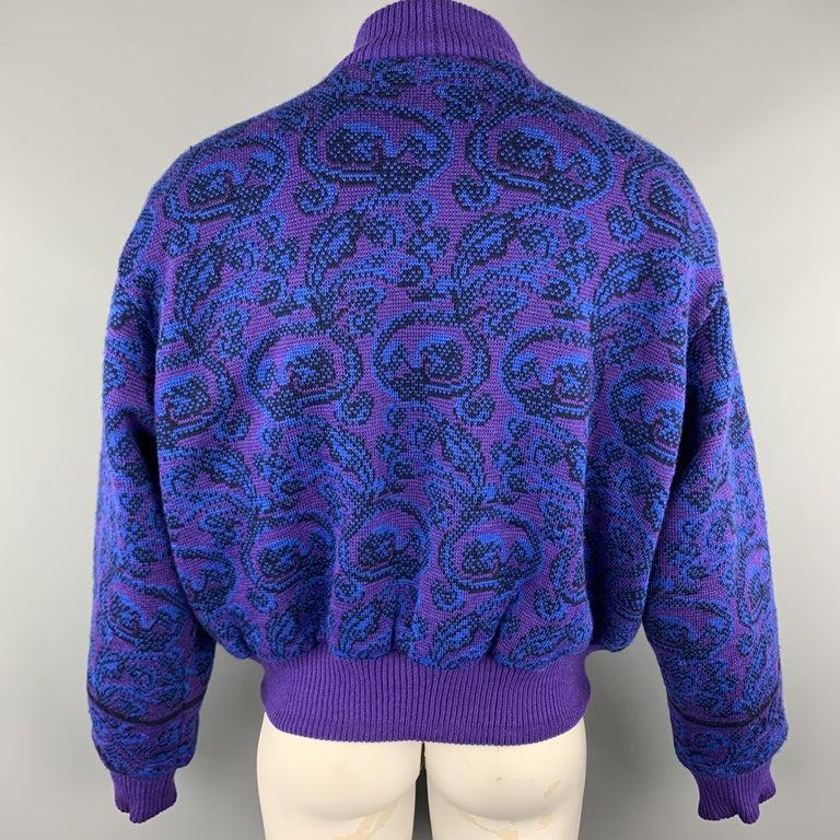 YVES SAINT LAURENT Size XL Purple & Blue Baroque Wool Knit Vintage Jacket For Sale 2