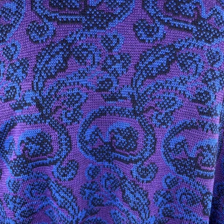 YVES SAINT LAURENT Size XL Purple & Blue Baroque Wool Knit Vintage Jacket For Sale 3