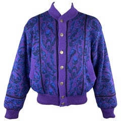 YVES SAINT LAURENT Size XL Purple & Blue Baroque Wool Knit Vintage Jacket