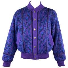 YVES SAINT LAURENT Size XL Purple & Blue Baroque Wool Knit Vintage Jacket