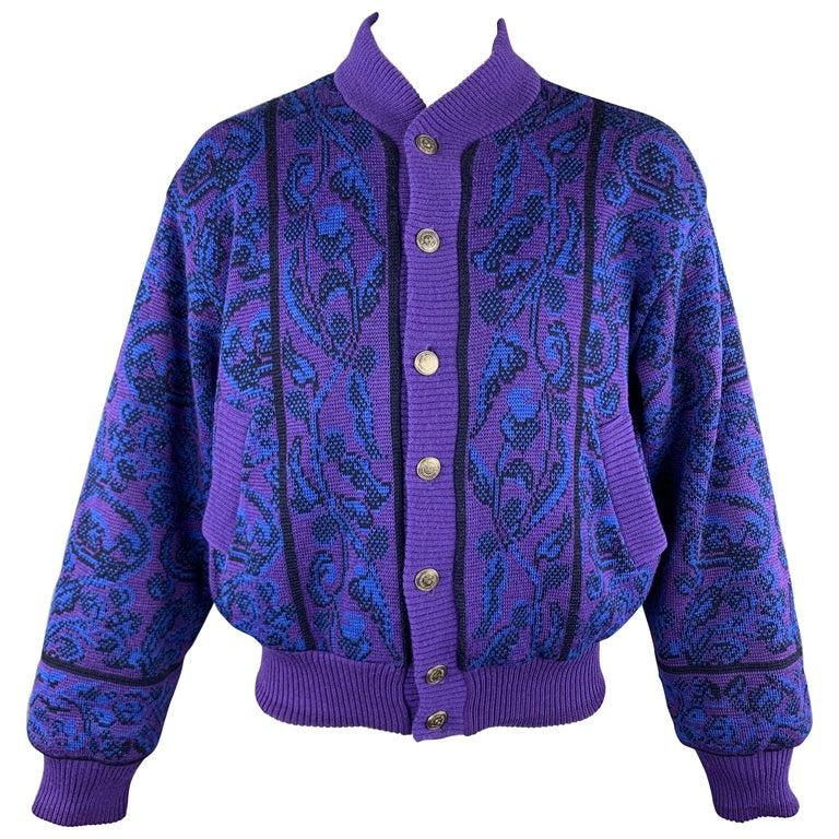 YVES SAINT LAURENT Size XL Purple & Blue Baroque Wool Knit Vintage Jacket For Sale