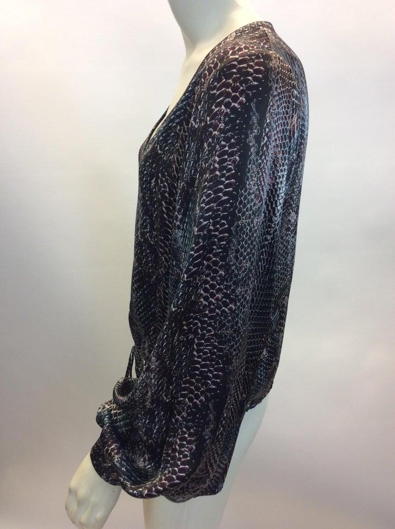 Yves Saint Laurent Snake Skin Print Silk Blouse $165 Made in Italy 100% Silk Size 36 Length 20.5