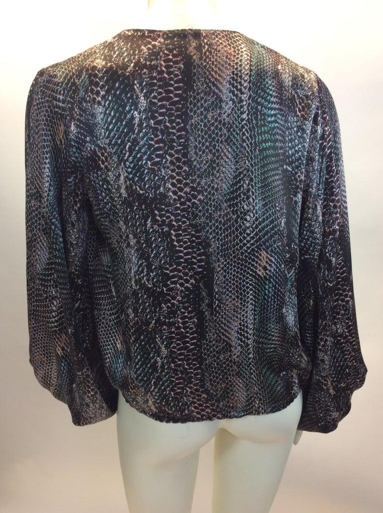 Black Yves Saint Laurent Snake Skin Print Silk Blouse