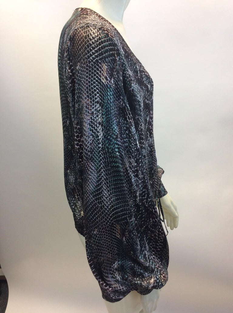 Yves Saint Laurent Snake Skin Print Silk Blouse In Good Condition In Narberth, PA