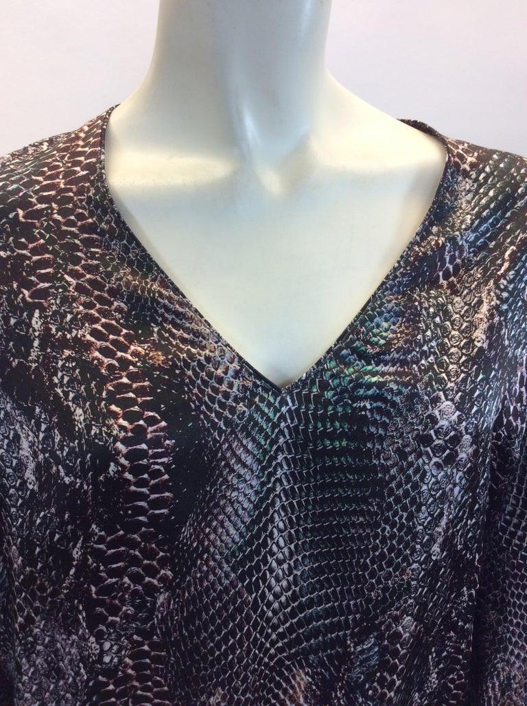 Women's Yves Saint Laurent Snake Skin Print Silk Blouse