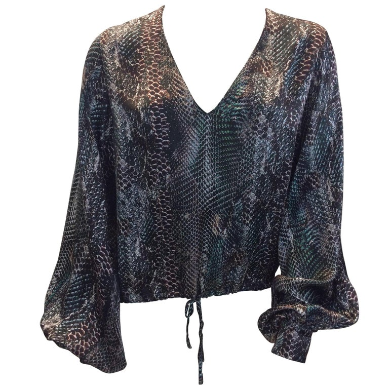 Yves Saint Laurent Snake Skin Print Silk Blouse