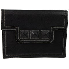 Yves Saint Laurent Spike Medor Style Black Vintage Clutch