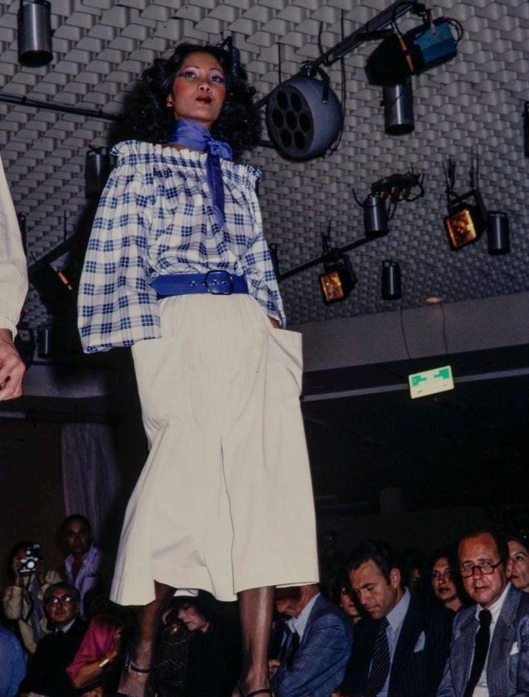 YVES SAINT LAURENT S/S 1978 YSL 2 Pc Green Plaid Peasant Blouse Wrap Skirt Set For Sale 7