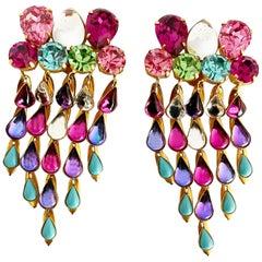 Yves Saint Laurent Statement Earrings Massive Chandelier Dangles Vintage Rare