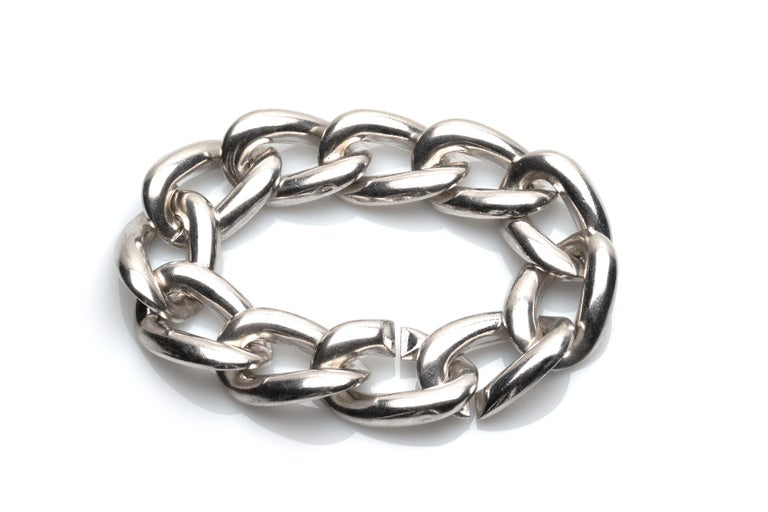 Yves Saint Laurent Sterling Silver Bracelet In Excellent Condition For Sale In New York, NY