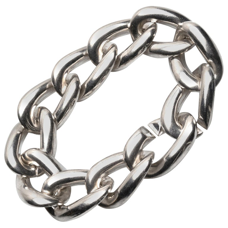 Yves Saint Laurent Sterling Silver Bracelet For Sale