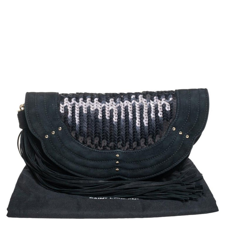 Yves Saint Laurent Suede and Sequins Fringe Flap Clutch For Sale 5