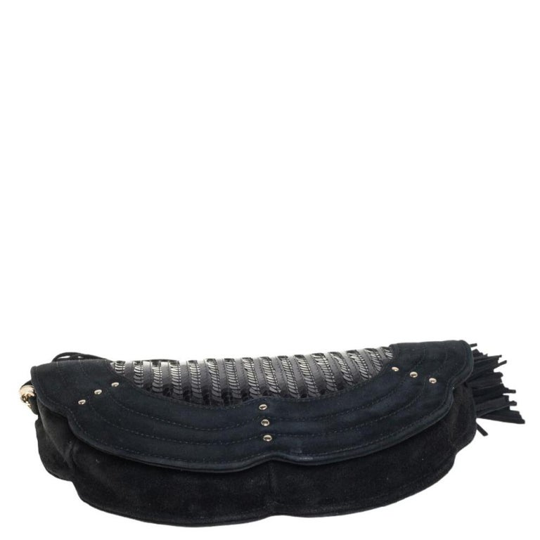Yves Saint Laurent Suede and Sequins Fringe Flap Clutch For Sale 7