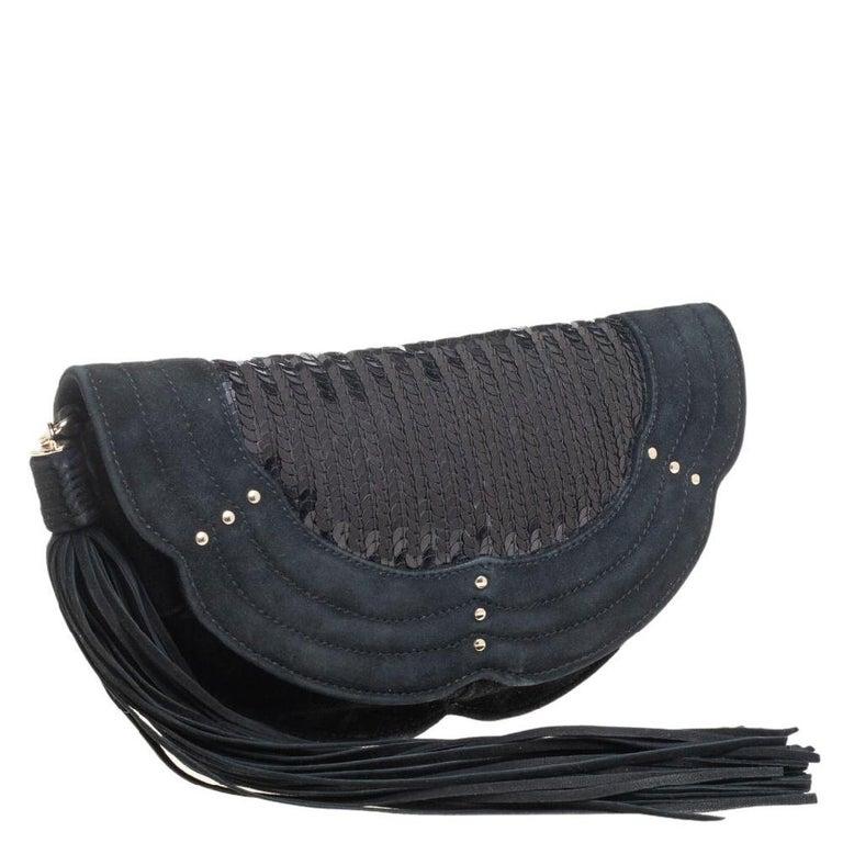 Black Yves Saint Laurent Suede and Sequins Fringe Flap Clutch For Sale