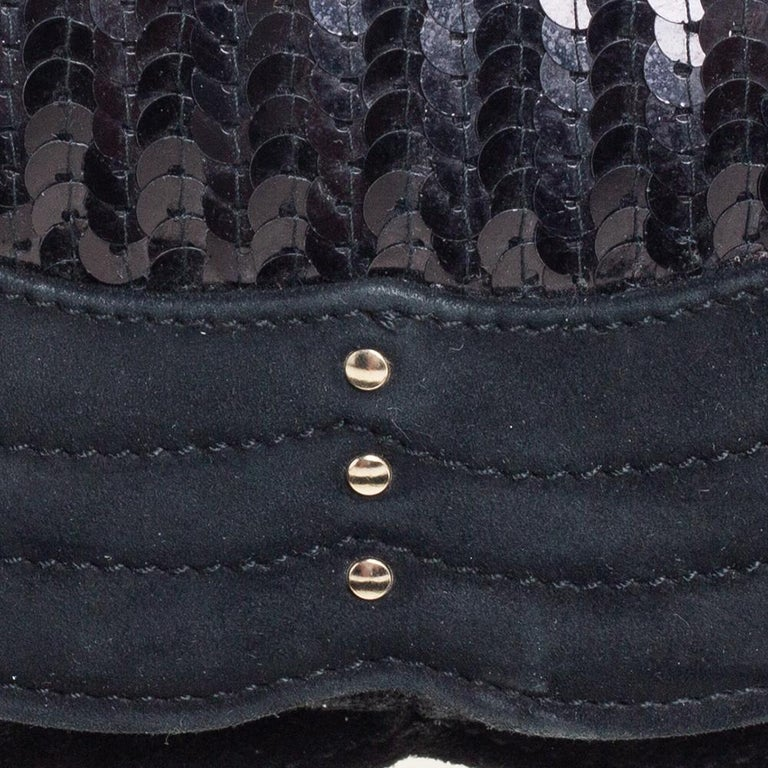 Yves Saint Laurent Suede and Sequins Fringe Flap Clutch For Sale 4
