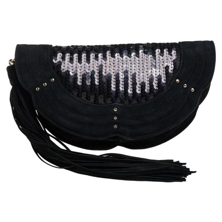 Yves Saint Laurent Suede and Sequins Fringe Flap Clutch For Sale