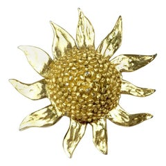 YVES SAINT LAURENT Sunflower Vintage Brooch