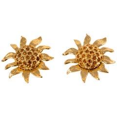 Yves Saint Laurent Sunflowers Gold Tone Pair of Clip On Earrings