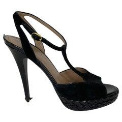 Yves Saint Laurent T-Strap Suede Open Toe Stiletto Basketweave Platform (38.5)