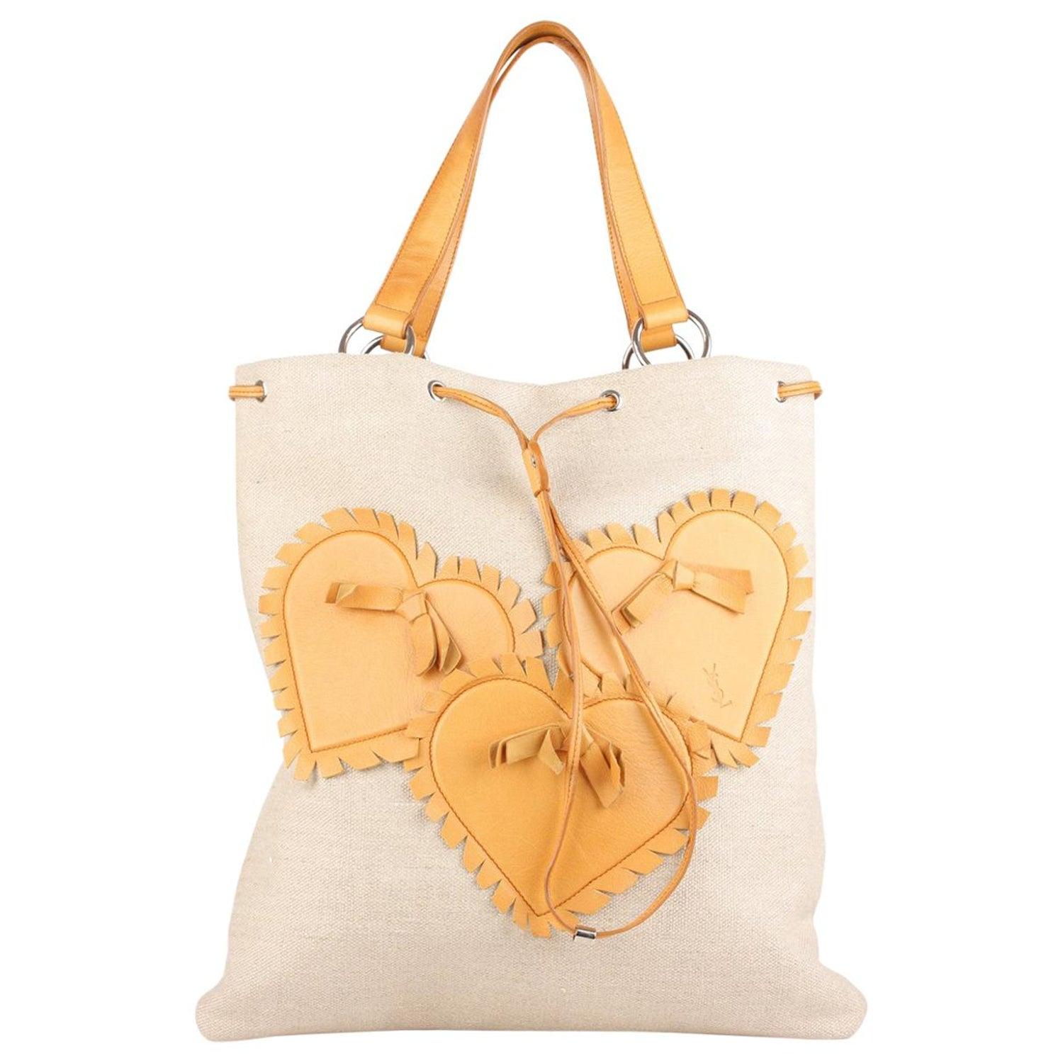 96b6e857746cb Yves Saint Laurent Tan Canvas and Leather Hearts Tote Bag at 1stdibs