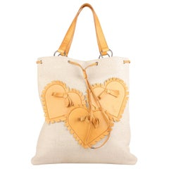 Yves Saint Laurent Tan Canvas and Leather Hearts Tote Bag