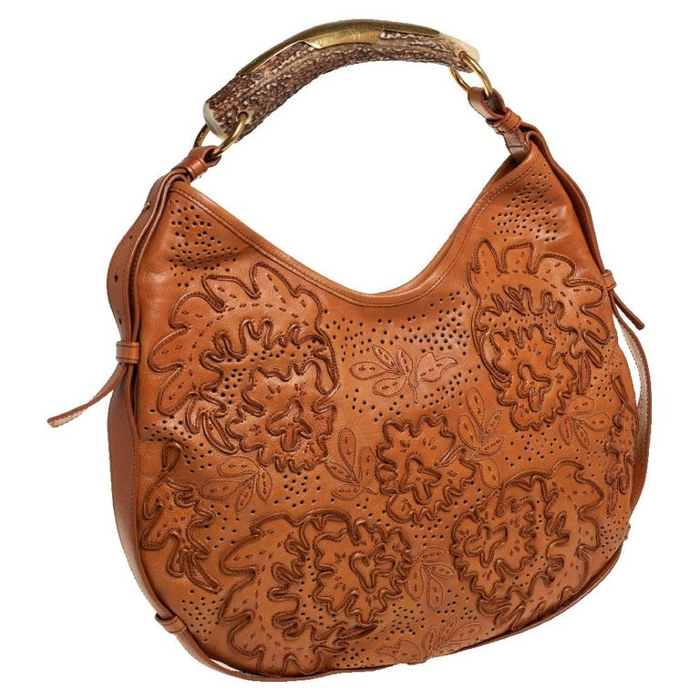 Brown Yves Saint Laurent Tan Embroidered Leather Mombasa Hobo For Sale