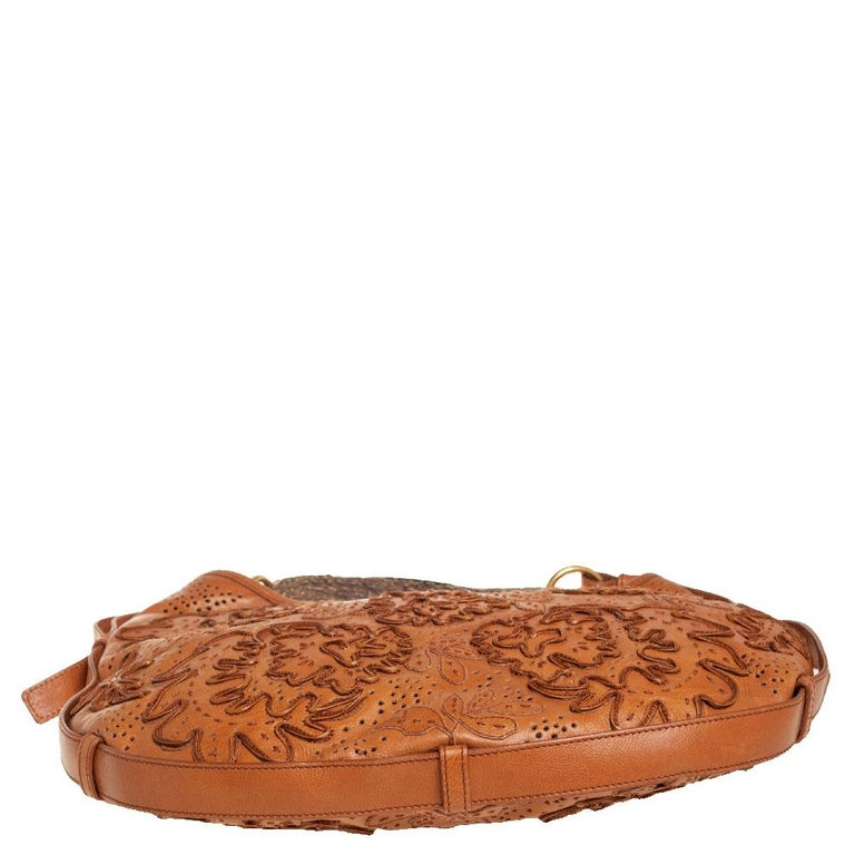 Women's Yves Saint Laurent Tan Embroidered Leather Mombasa Hobo For Sale