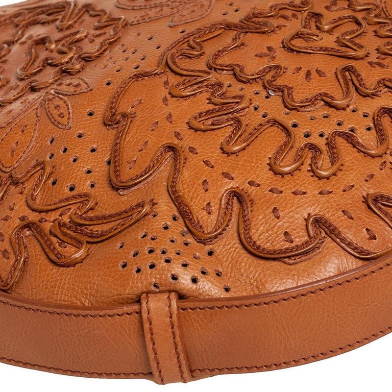 Yves Saint Laurent Tan Embroidered Leather Mombasa Hobo For Sale 1