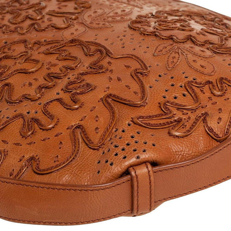Yves Saint Laurent Tan Embroidered Leather Mombasa Hobo For Sale 2