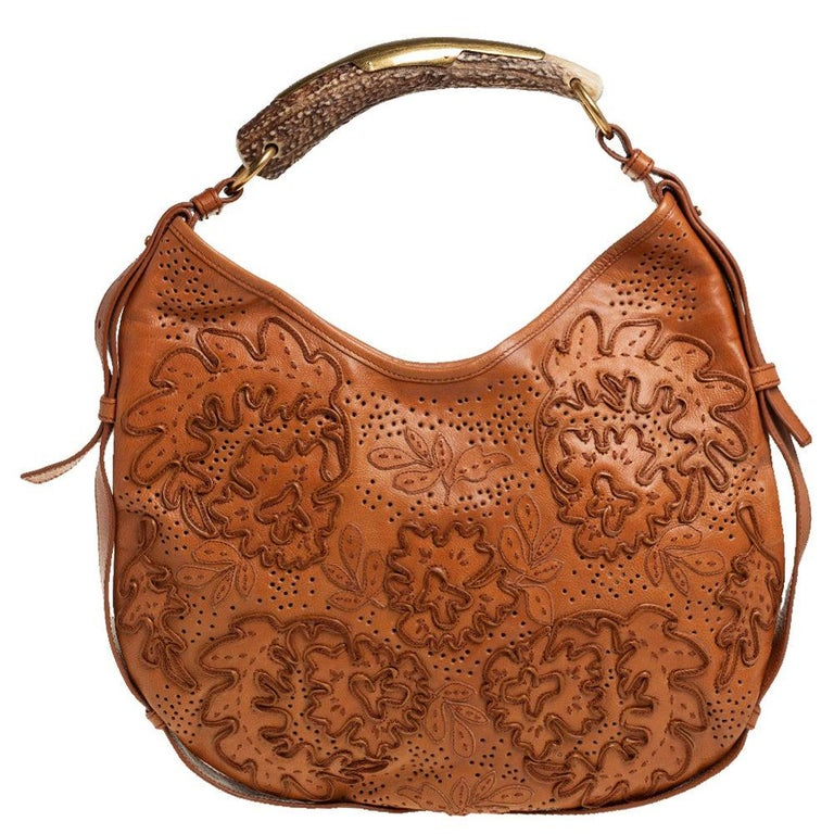 Yves Saint Laurent Tan Embroidered Leather Mombasa Hobo For Sale