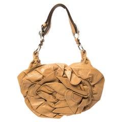 Yves Saint Laurent Tan Leather Nadja Rose Petal Hobo