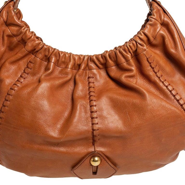 Yves Saint Laurent Tan Leather Vincennes Mombasa Hobo For Sale 2