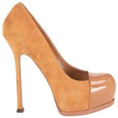 YVES SAINT LAURENT tan suede & patent TRIBTOO Platform Pumps Shoes 36