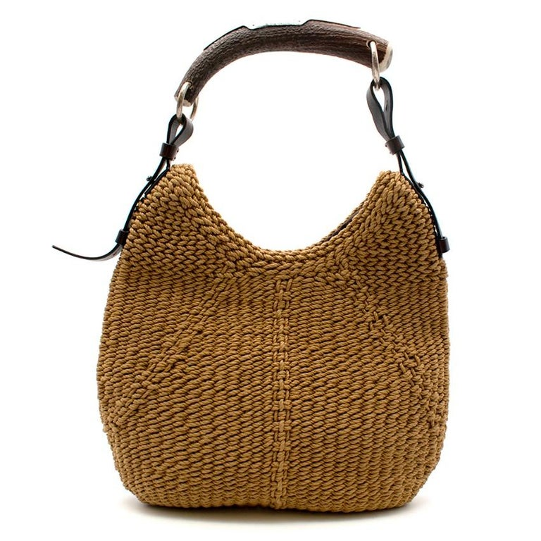 Yves Saint Laurent - Tan Woven Mombasa Hobo Bag  - leather adjustable strap - Deer Horn Handle - magnetic closure - silver hardware - small pocket inside with zip fastening  Please note, these items are pre-owned and may show signs of being stored
