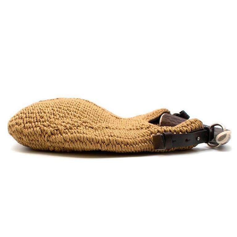Brown Yves Saint Laurent Tan Woven Mombasa Horn Bag 30cm For Sale