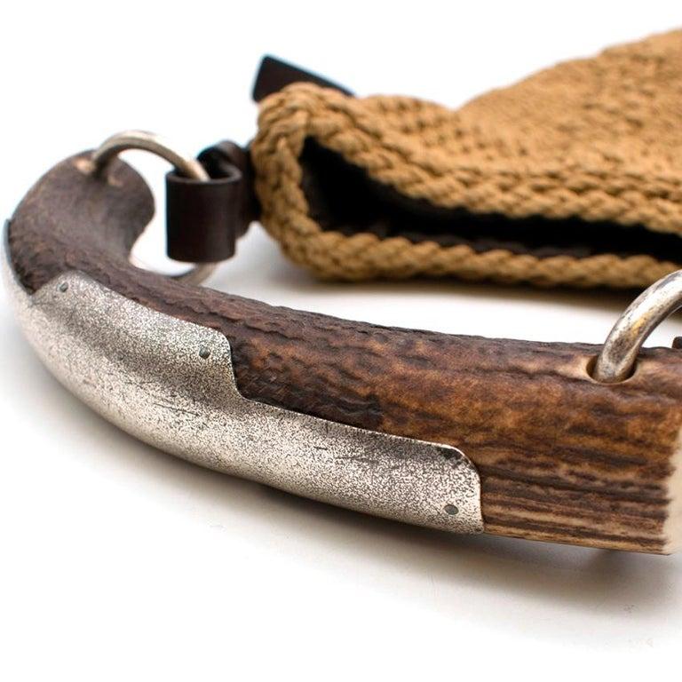 Yves Saint Laurent Tan Woven Mombasa Horn Bag 30cm For Sale 1