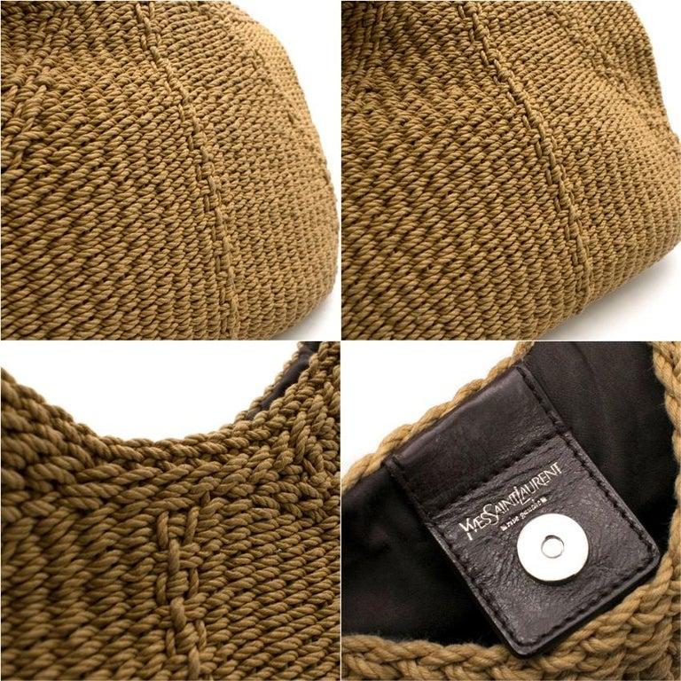 Yves Saint Laurent Tan Woven Mombasa Horn Bag 30cm For Sale 2