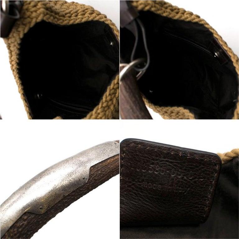 Yves Saint Laurent Tan Woven Mombasa Horn Bag 30cm For Sale 3