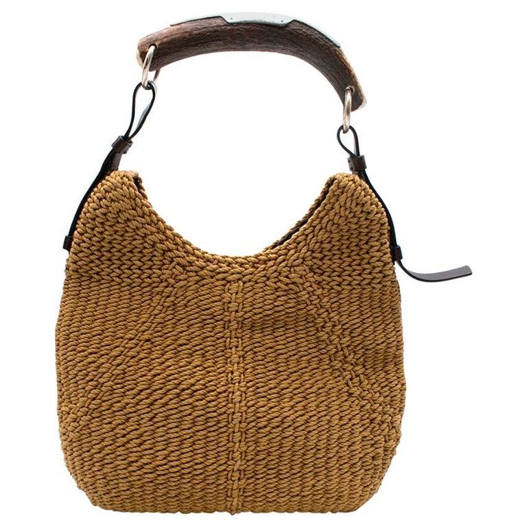Yves Saint Laurent Tan Woven Mombasa Horn Bag 30cm For Sale