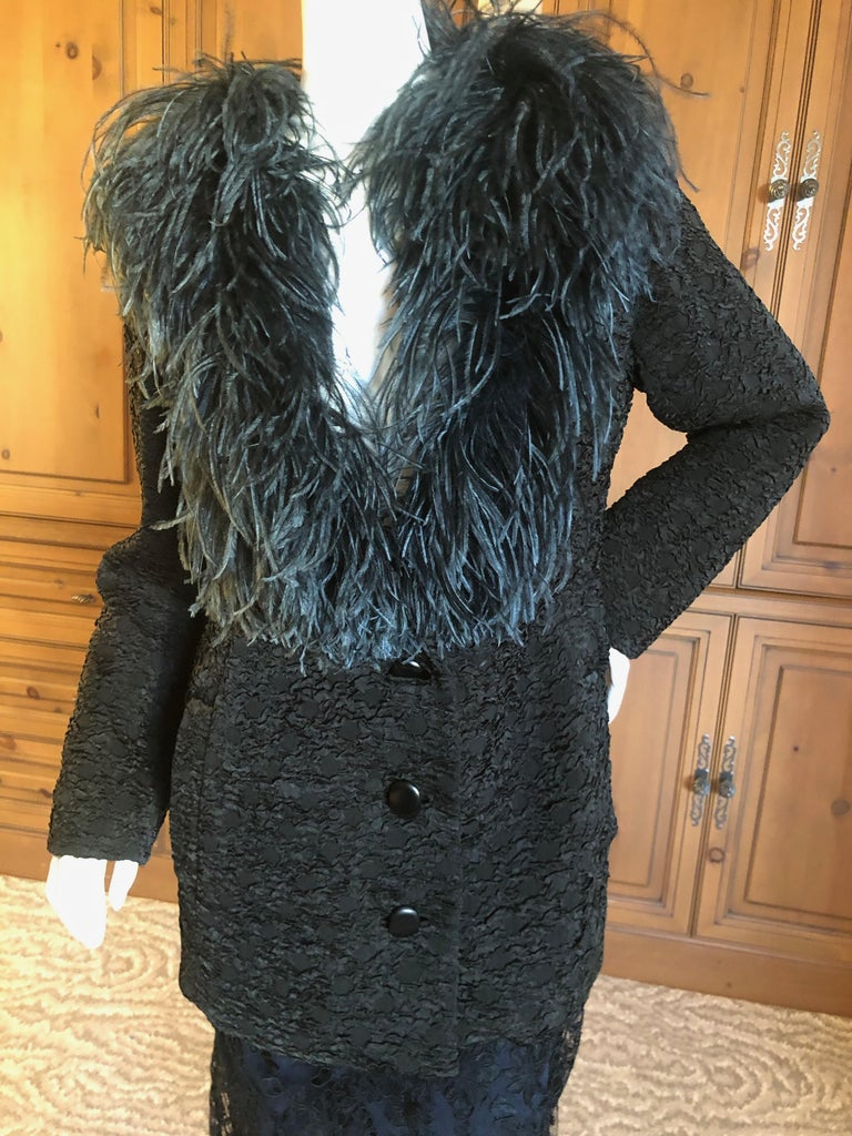 Yves Saint Laurent Textured Vintage 1980's Jacket  or Short Coat with Ostrich Feather Collar Size 42,  but runs large Bust 42