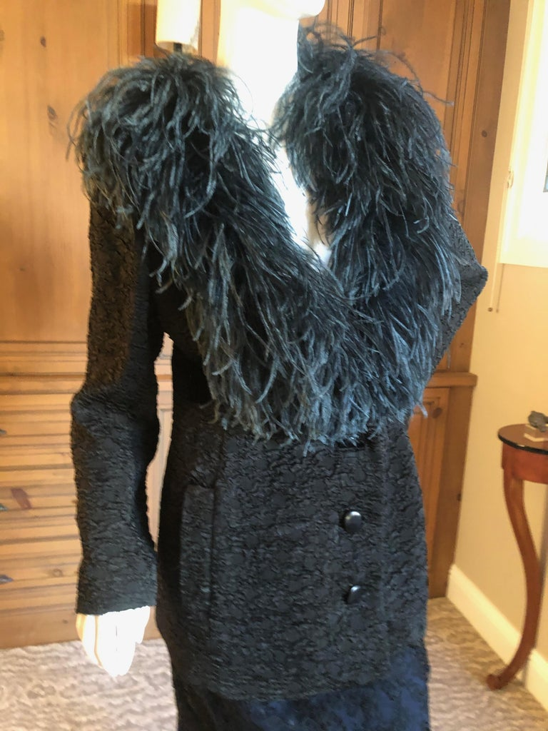 Yves Saint Laurent Textured Vintage 1980's Coat with Ostrich Feather Collar In Excellent Condition For Sale In San Francisco, CA