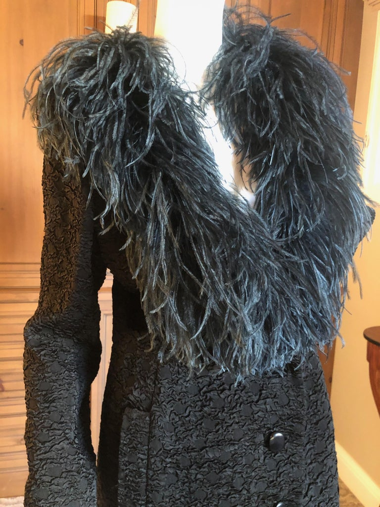 Women's Yves Saint Laurent Textured Vintage 1980's Coat with Ostrich Feather Collar For Sale