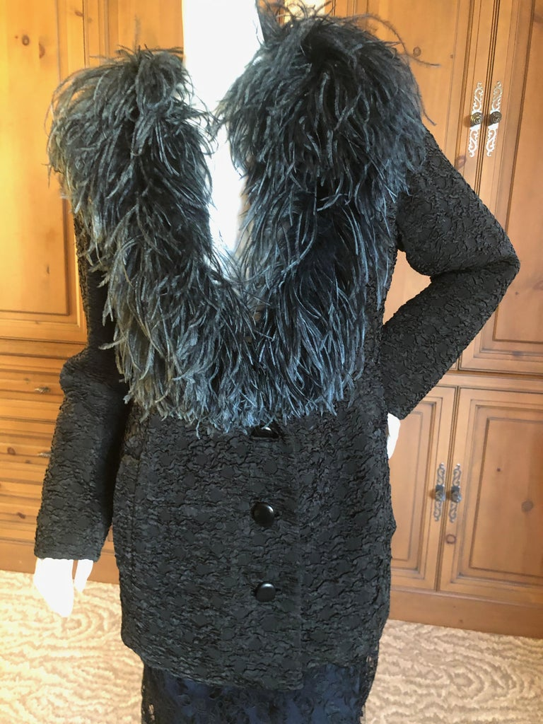 Yves Saint Laurent Textured Vintage 1980's Coat with Ostrich Feather Collar For Sale 1